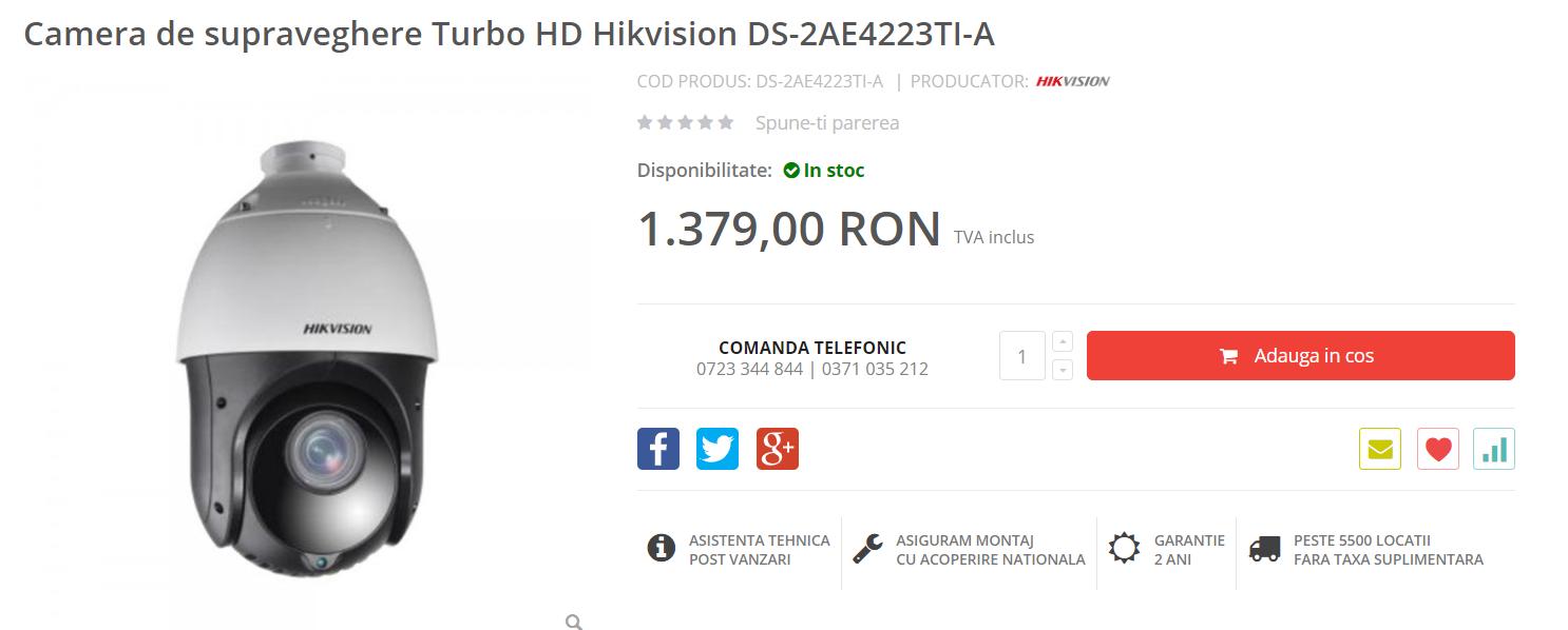 Camera de supraveghere Turbo HD Hikvision wdr